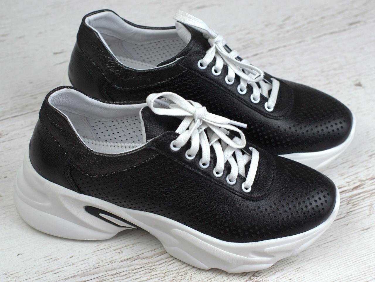 Кроссовки черные кожаные летние перфорация женская обувь больших размеров Rosso Avangard Mozza Black Perf