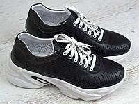 Кроссовки черные кожаные летние перфорация женская обувь больших размеров Rosso Avangard Mozza Black Perf, фото 1