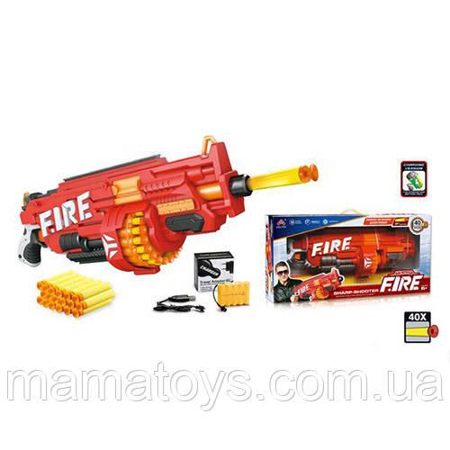 Детский Пулемет Бластер SB486 Размер63 см,Аккумулятор или батарейки, зарядное, мягкие пули присоски 40 шт,