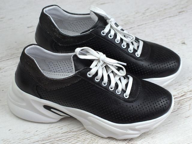 Удобные и легкие кроссовки черные кожаные летние перфорация женская обувь больших размеров Rosso Avangard Mozza Black Pearl Leather Perf1211914814