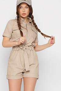 Женский летний джинсовый комбинезон ромпер с шортами бежевый
