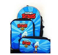 Набор 3 в 1: рюкзак, сумка и пенал с героями Brawl Stars / Бравл Старс Леон Акула