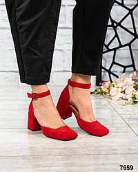 Туфли открытые с ремешком, нат.замша красный