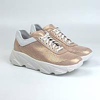 Жіночі золотисті кросівки шкіряні літні перфорація взуття великих розмірів Rosso Avangard Mozza GoldPerf, фото 1
