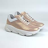Женские золотистые кроссовки кожаные летние перфорация обувь больших размеров Rosso Avangard Mozza GoldPerf
