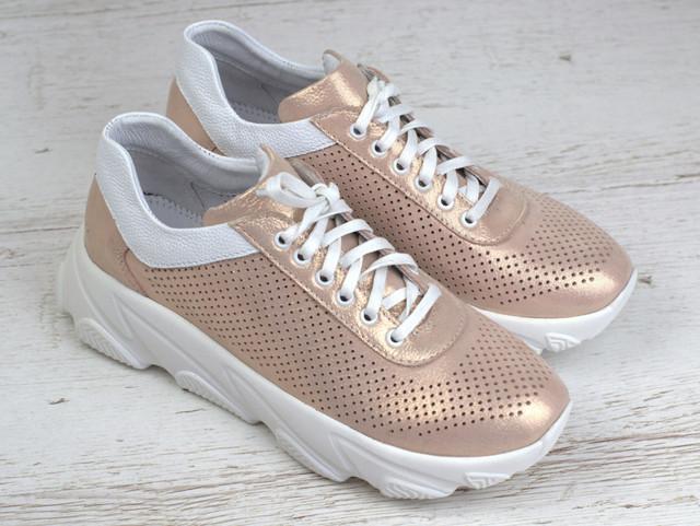 Жіночі золотисті кросівки шкіряні літні перфорація взуття великих розмірів Rosso Avangard Mozza GoldPerf