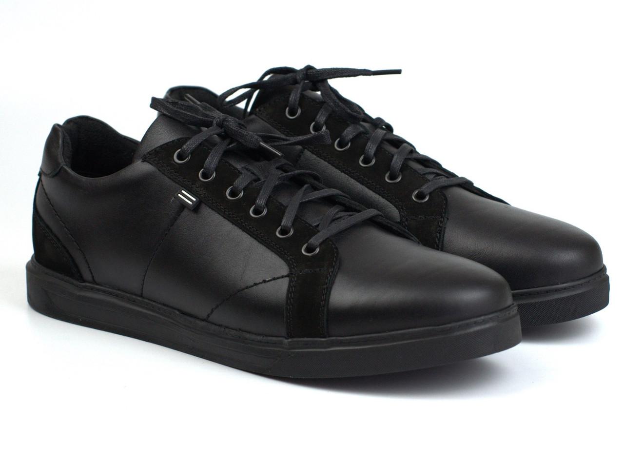 Мужские кожаные кроссовки черные кеды обувь больших размеров Rosso Avangard Puran Night Black BS