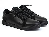 Мужские кожаные кроссовки черные кеды обувь больших размеров Rosso Avangard Puran Night Black BS, фото 1
