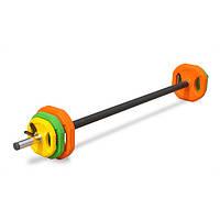 Штанга для фитнеса 20 кг. с обрезинеными блинами