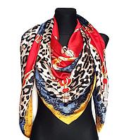 Шелковый платок Fashion Катания 135*135 см красный, фото 1
