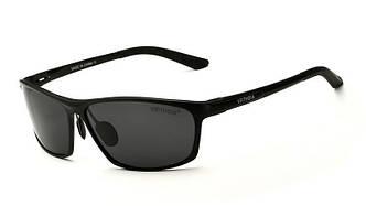 Очки мужские солнцезащитные поляризованные VEITHDIA. Оправа черна, стекла черны