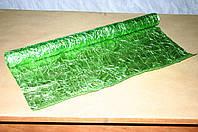 Зеленая органза LUXURY для упаковки цветов и подарков (жатая)