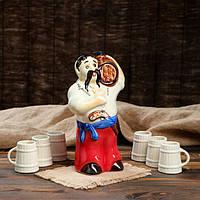 Штоф с рюмками Казак с бочкой - набор для коньяка и спиртных напитков