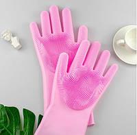 Силиконовые перчатки для мытья и чистки Magic Silicone Gloves с ворсом Розовые