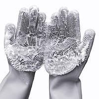 Силиконовые перчатки для мытья и чистки Magic Silicone Gloves с ворсом Серые