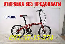 ✅ Раскладной Велосипед Shark Bike - 2005 Красный, переключатели и перекидка SHIMANO, 20 колесо