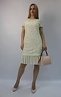 Нарядное коктейльное платье-футляр молочное шифоновое 3D ЛЮКС-качество летнее вечернее на свадьбу и выпускной