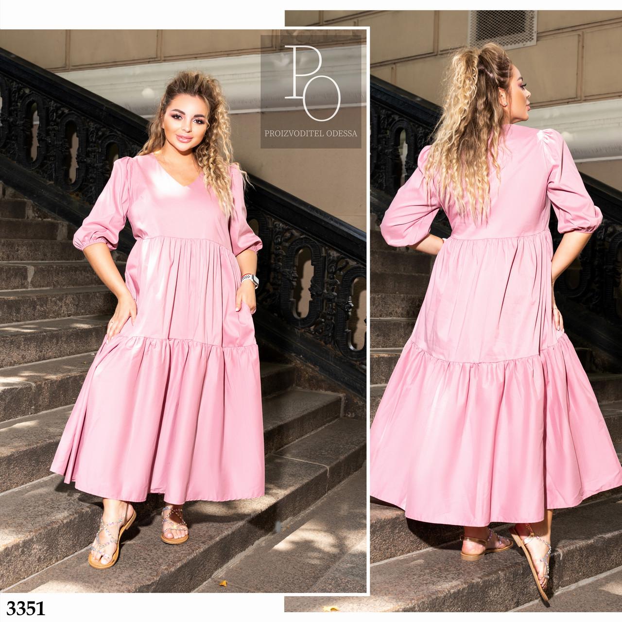 Платье свободного кроя рукав три четверти миди коттон 48-50,52-54,56-58,60-62,64-66