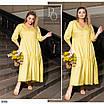 Платье свободного кроя рукав три четверти миди коттон 48-50,52-54,56-58,60-62,64-66, фото 4