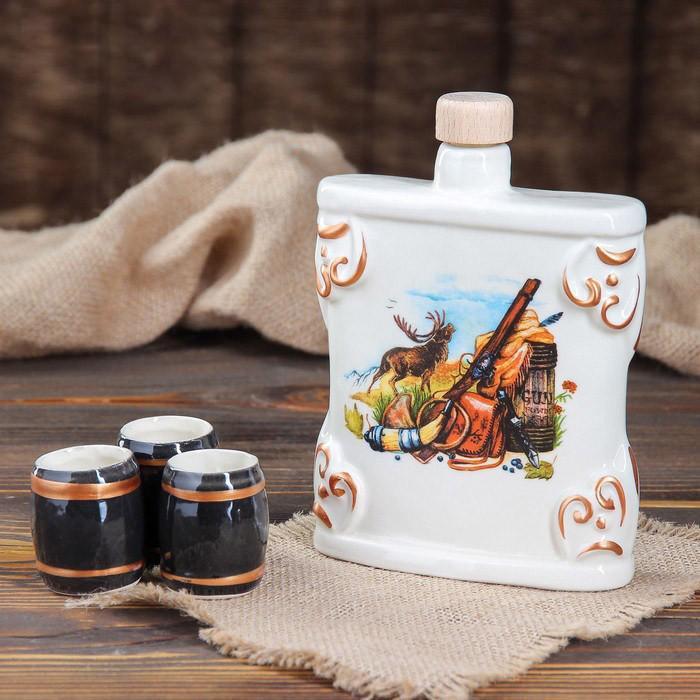 Фляга для спиртного Охота - подарочный наборчик с рюмками