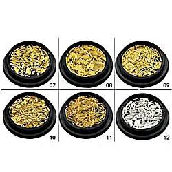Набір прикрас для дизайну нігтів металевих, золотого кольору, біндіси, №03