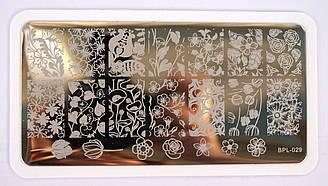 Пластина для стемпинга BP-L029 цветы, цветочки