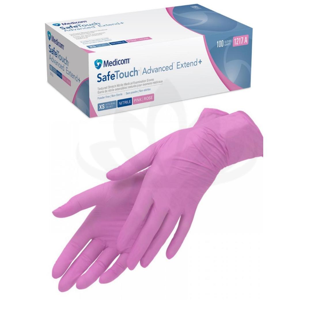 Перчатки нитрил розовые Medicom  М 100 шт в упаковке