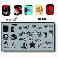 Пластина для стемпинга graffity, star, звезда, капли, потеки JR-126