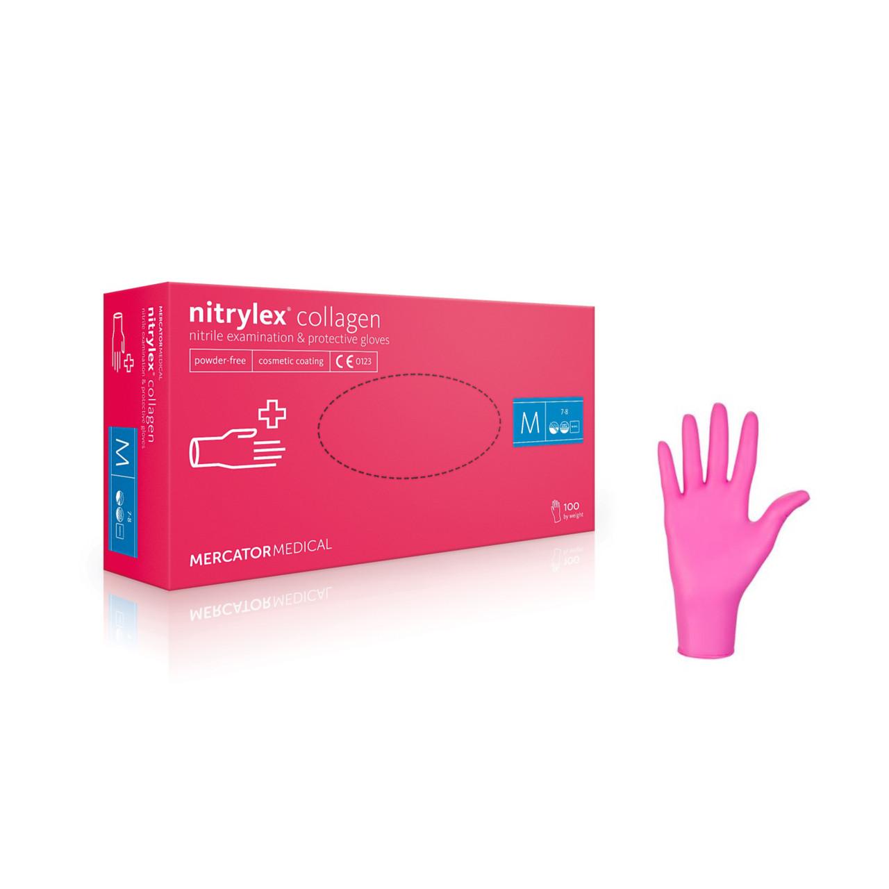 Перчатки Nitrylex Collagen, Ярко Розовый, M, 100 шт, прочные, мягкие, гипоаллергенные, устойчивы к