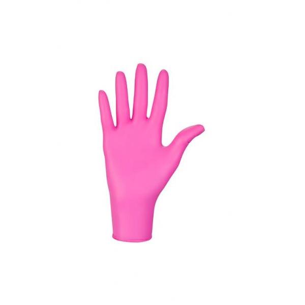 Перчатки Nitrylex® Collagen, Ярко Розовый, S, 100 шт, 50 пар, нетриловые, защитные, смотровые