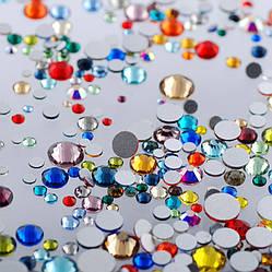 Стрази Сваровскі, кольорові, камінь, скло, кристал, різнокольорові, SS3-SS12, мікс розмірів, 11 грам