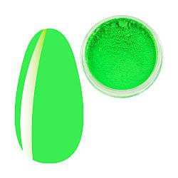 Пігмент Зелений Неон, Яскраві неонові пігменти, неонова втирка, для дизайну нігтів, баночка