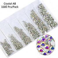 Стразы для ногтей AB Crystal MIX, SS3-SS8, хамилион, люкс, блеск, камни, декор, сваровски, Brilliant , Бриллиант, кристалл, серебро, стекло, no hot