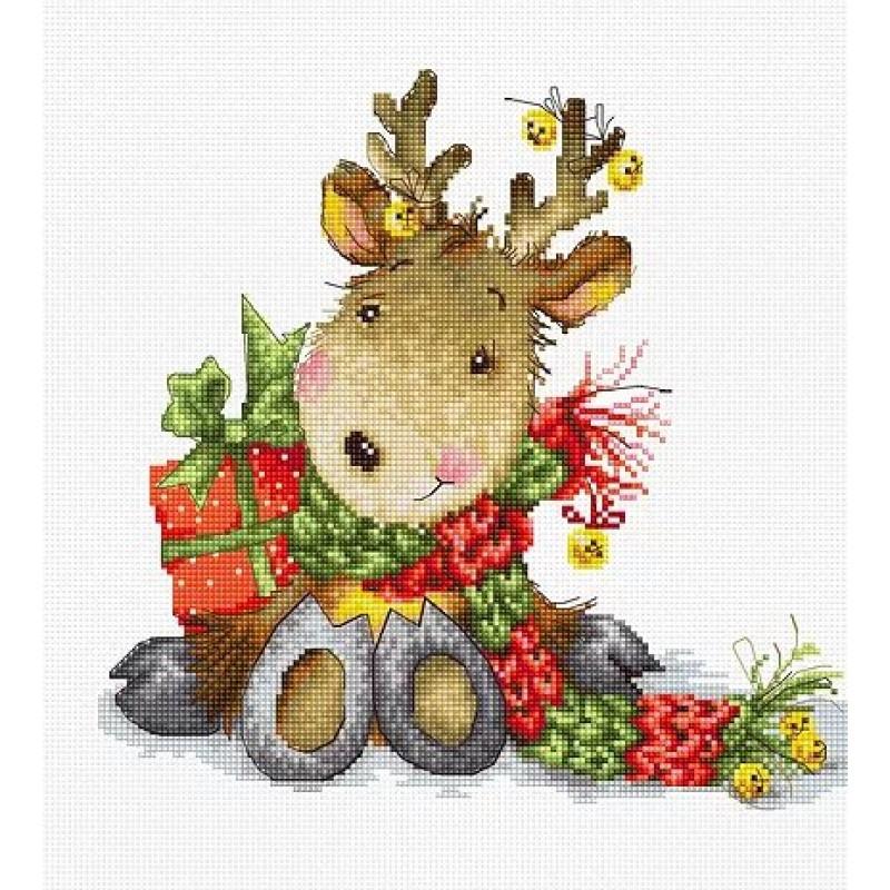 Наборы для вышивания крестом Luca S Детское Рождественский олененок