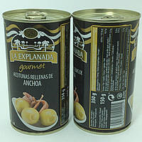 Оливки зелёные ФАРШИРОВАННЫЕ АНЧОУСАМИ LA EXPLANADA gourmet Aceitunas rellenas de anchoa (350г) Испания.