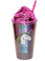 """Стакан JL-6016 """"Lets be Unicorns"""" для холодных и теплых напитков (до 70°C), 450мл голографический пластик"""