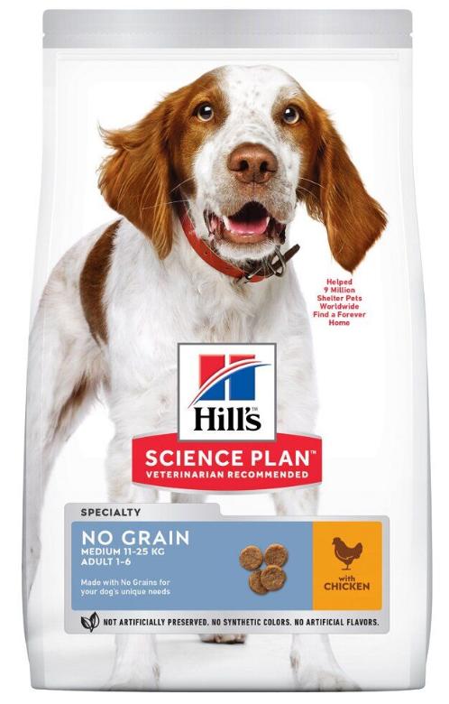 Хиллс Hills SP Can Adult NoGrain Md Ch с курицей сухой корм для взрослых собак средних пород,беззерновой,14 кг