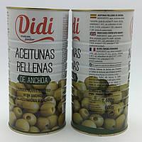 Оливки зелёные БЕЗ КОСТОЧЕК в маринаде из АНЧОУСОВ Didi (1460 мл) Испания.