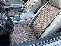 Накидки для авто из перфорированной экокожи, Светло-коричнивые, Премиум, Полный комплект