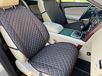 Накидки для авто из перфорированной экокожи, с красной строчкой, Премиум + , Передний комплект