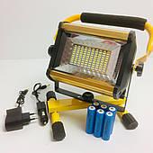 Прожектор фонарь LED WD808 100 W светодиодный от сети и от аккумуляторных батарей Ip65 строительный