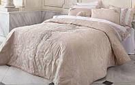 Покрывало Pepper Home Gloria Жаккард 270х260 см с наволочками и декоративной подушкой Бежево-розо, КОД: 945446