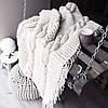 Плед вязаный ручной работы в косы 140х90  цвет какао