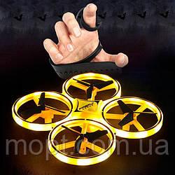 Квадрокоптер TRACker с сенсорным управлением и подсветкой дрон управление жестами руки Желтый