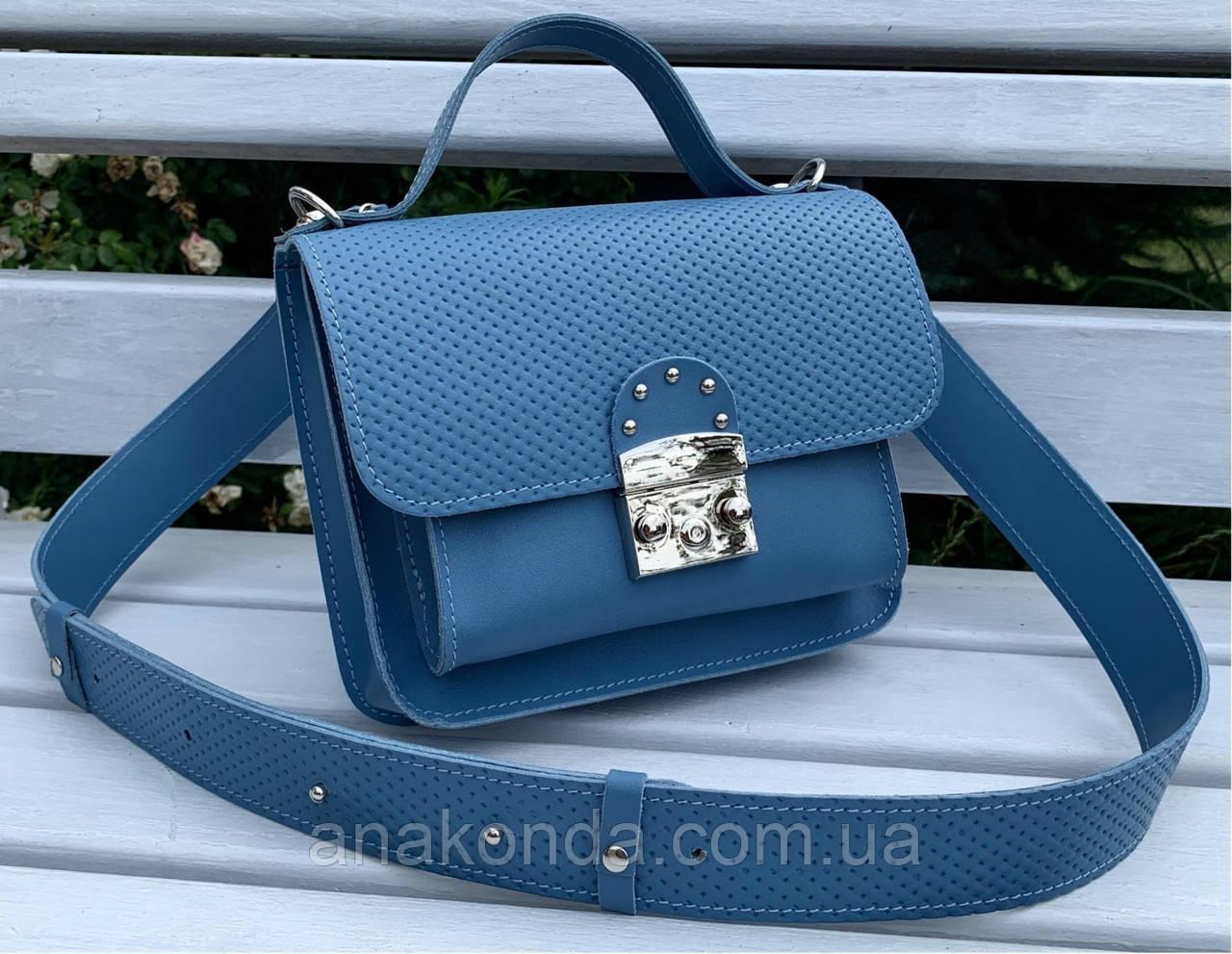 574-3 Натуральная кожа Сумка женская голубая Кожаная сумка с широким ремнем через плечо сумка женская голубая