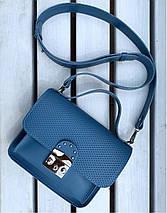 574-3 Натуральная кожа Сумка женская голубая Кожаная сумка с широким ремнем через плечо сумка женская голубая, фото 2