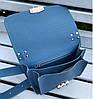 574-3 Натуральная кожа Сумка женская голубая Кожаная сумка с широким ремнем через плечо сумка женская голубая, фото 4