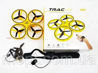 Дрон Квадрокоптер TRACker с сенсорным управлением и подсветкой дрон управление жестами руки Желтый