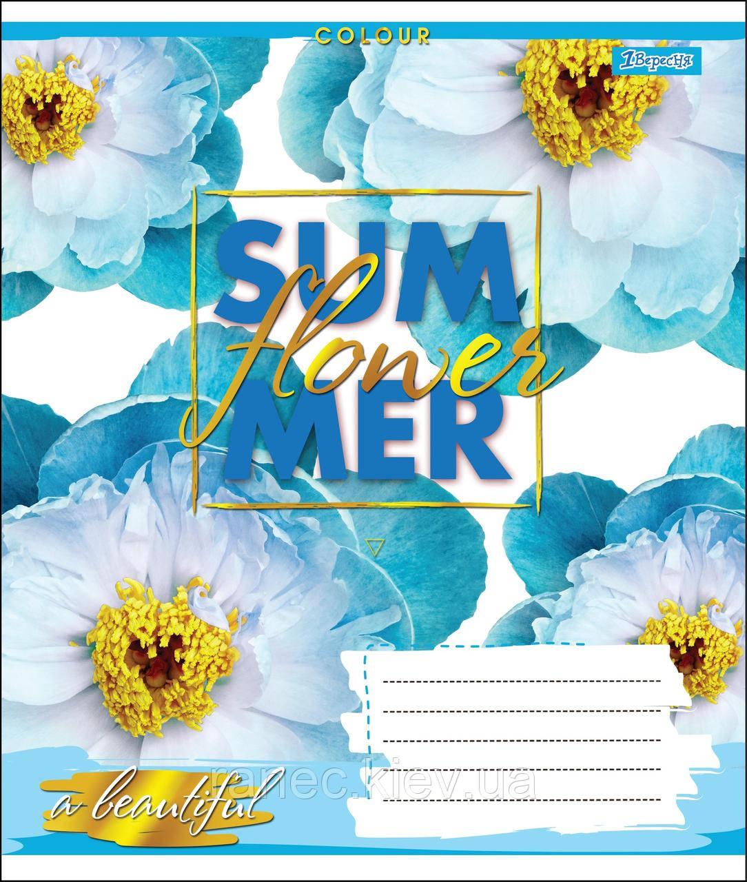 Тетрадь 48 листов клетка А5 набор 10 шт. в упаковке 1 Вересня SUMMER FLOWER  764634