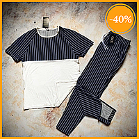 Мужской летний комплект Asos Stripe Summer 2020. Мужской комплект футболка и штаны в полоску синие